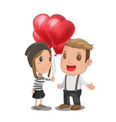 Woman give heart balloon man vector