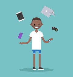Young black man juggling electronic devices vector