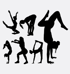 Aerobic sport female activity silhouette vector