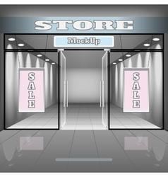 Realistic store or office interior template vector