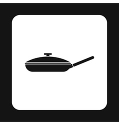 Black frying pan with lid icon simple style vector