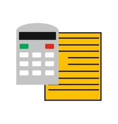Modern flat icon paper and calculator on white vector