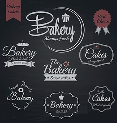 Chalkboard bakery labels vector image