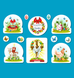 Easter holiday sticker and label set design vector