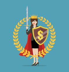 Woman with shield sword and golden wreath vector