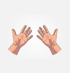 Realistic sketch hands - gestures hand-drawn vector