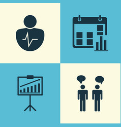 Executive icons set collection of team meeting vector