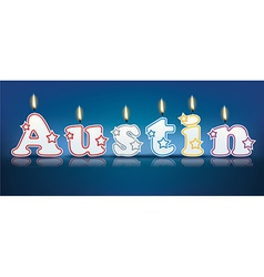 Austin written with burning candles vector