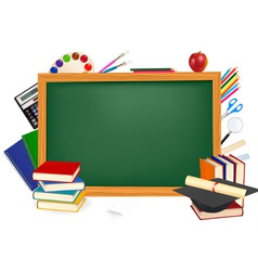 back to school green desk vector image