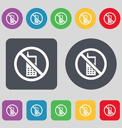 Mobile phone is prohibited icon sign a set of 12 vector