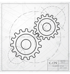 Cogwheel icon epsclassic blueprint of0 vector
