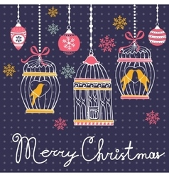 Elegant merry christmas card with baubles and vector