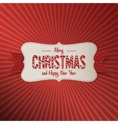 Christmas realistic paper white banner with ribbon vector