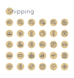 Round shipping icons vector
