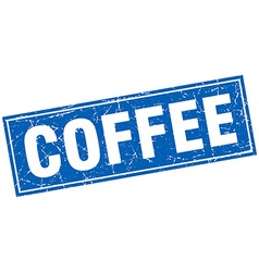 Coffee blue square grunge stamp on white vector