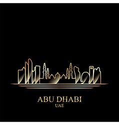 Gold silhouette of Abu Dhabi on black background vector image
