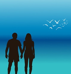 A young couple holding hands vector image vector image