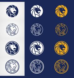 abstract circle lion head logo design vector image