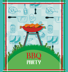 Barbecue party menu card invitation vector