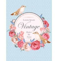 Beautiful vintage card with nightingales vector