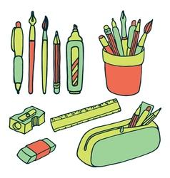 Brushes pencils pens ruler sharpener eraser icjns vector image