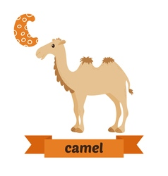 Camel C letter Cute children animal alphabet in vector image