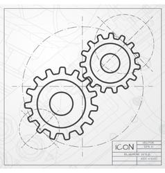 Cogwheel icon epsclassic blueprint of0 vector