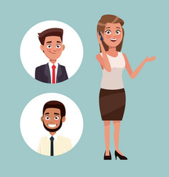 Color background with executive woman talk for vector