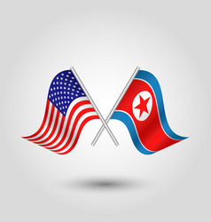 Crossed american and korean flags vector