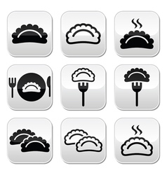 Dumplings food buttons set vector