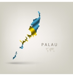 Flag of PALAU as a country with a shadow vector image