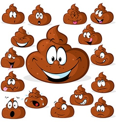 Funny poo with many expressions isolated on white vector