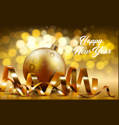 gold bauble new year card realistic shiny vector image vector image