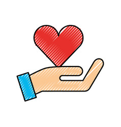 hand with red heart charity love donation vector image