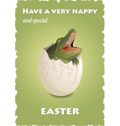 Happy Easter funny card with crocodile in eggshell vector image vector image