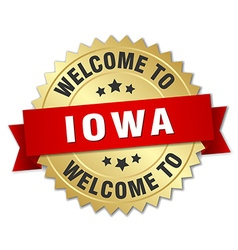 Iowa 3d gold badge with red ribbon vector