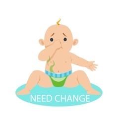 Little baby boy in nappy needs change part of vector