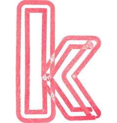 lowercase letter k drawing with Red Marker vector image vector image