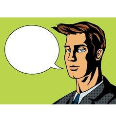 Man with text bubble pop art style vector image vector image