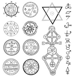 mystic set with magic and symbols vector image vector image