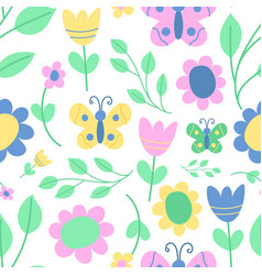 nature spring flower wreath seamless vector image vector image