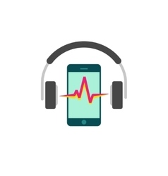 Online mobile music player icon headphones vector image
