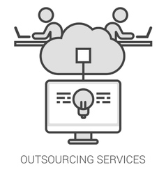 Outsourcing services line infographic vector