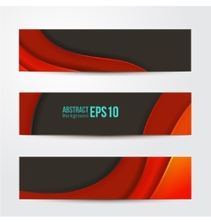 Set of abstract red banners three background vector