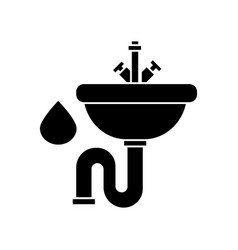 sink icon black sign on vector image