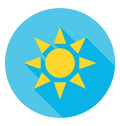 Sun over blue sky circle icon vector