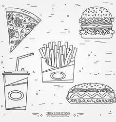 Thin line icon pizza fries soda hot dog and vector