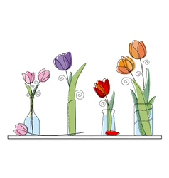 Tulip design on white background vector image