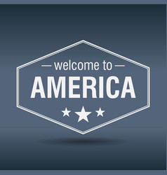Welcome to america hexagonal white vintage label vector