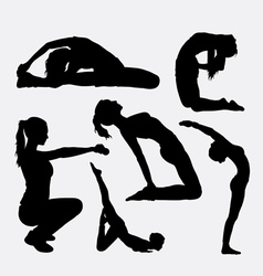 Trining sport female gymnastic silhouette vector